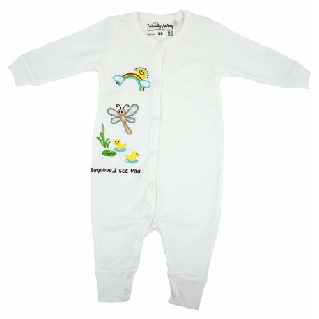 Trendyvalley Organic Cotton Baby Romper Long Sleeve Baby Shirt (Dragonflies)