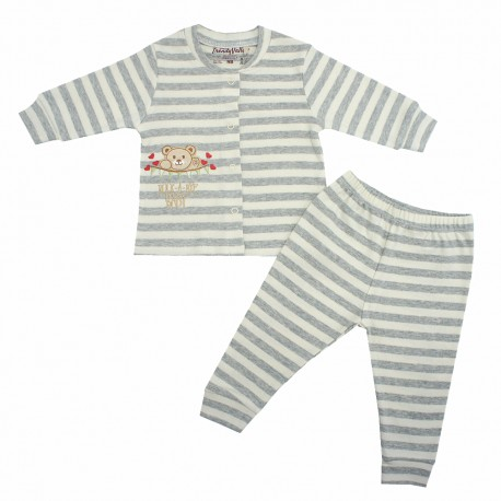 TRENDYVALLEY ORGANIC COTTON LONG SLEEVE BABY SHIRT AND PANTS (ROCK A BYE GREY)