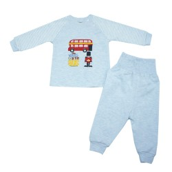 Trendyvalley Organic Cotton Baby Long Sleeve Pyjamas Set (London Bus/Blue)