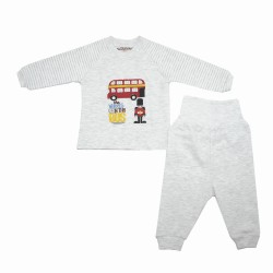 Trendyvalley Organic Cotton Baby Long Sleeve Pyjamas Set (London Bus/Grey)