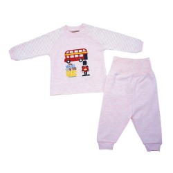 Trendyvalley Organic Cotton Baby Long Sleeve Pyjamas Set (London Bus/Pink)