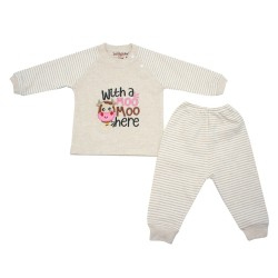 Trendyvalley Organic Cotton Baby Long Sleeve Pyjamas Set (Moo/Brown)