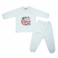 Trendyvalley Organic Cotton Baby Long Sleeve Pyjamas Set (Moo/Grey)