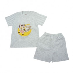 Trendyvalley Organic Cotton Short Sleeve Baby Shirt and Pants (Hey Diddle Grey)