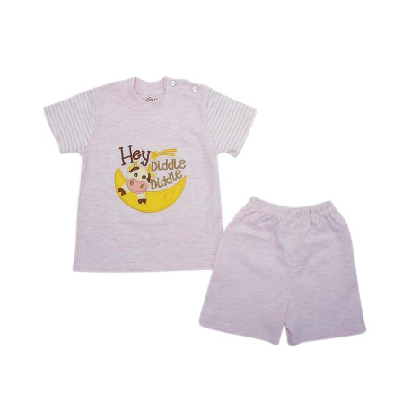 Trendyvalley Organic Cotton Short Sleeve Baby Shirt and Pants (Hey Diddle Pink)