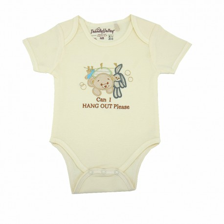Trendyvalley Organic Cotton Romper Short Sleeve Baby Shirt (Hang Out Bear)