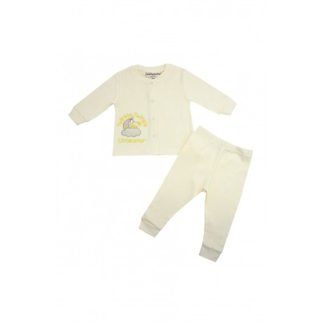 Trendyvalley Organic Cotton Long Sleeve Baby Shirt and Pants (Twinkle Star Cream)