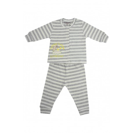 Trendyvalley Organic Cotton Long Sleeve Baby Shirt and Pants (Twinkle Star Grey)