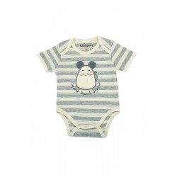 Trendyvalley Organic Cotton Short Sleeve Grey Romper (Grey Mouse)