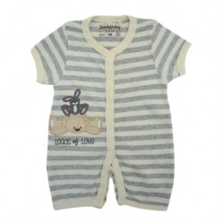 Trendyvalley Organic Cotton Short Sleeve Short Pants Baby Romper (Lots Of Love/Grey Stripe)