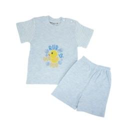 Trendyvalley Organic Cotton Short Sleeve Baby Shirt and Pants (Duck Blue)