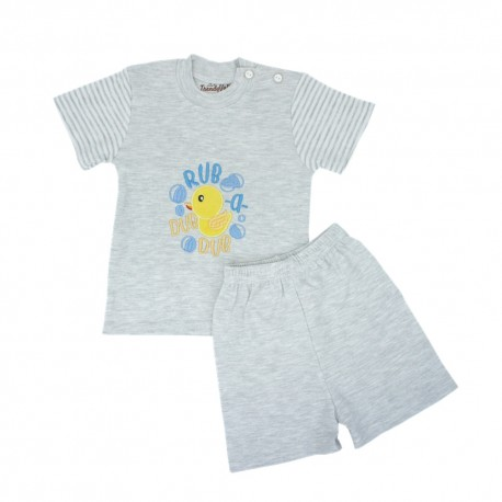 Trendyvalley Organic Cotton Short Sleeve Baby Shirt and Pants (Duck Grey)