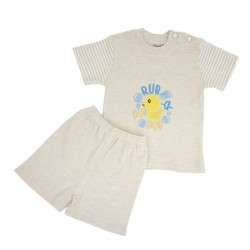 Trendyvalley Organic Cotton Short Sleeve Baby Shirt and Pants (Duck Brown)