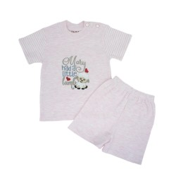 Trendyvalley Organic Cotton Short Sleeve Baby Shirt and Pants (Little Lamb Pink)