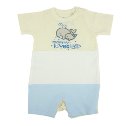 Trendyvalley Organic Cotton Short Sleeve Pants Baby Romper (Whale/Blue)