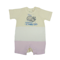 Trendyvalley Organic Cotton Short Sleeve Short Pants Baby Romper (Whale/Pink)