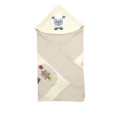 Trendyvalley Organic Cotton Baby Wrapper Baby Blanket  Moo Moo Farm (Brown)