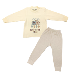 Trendyvalley 6m-3Y Organic Cotton Long Sleeve and Long Pant Sleep Wear Let it Snow Bear (Brown)