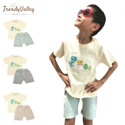 Trendyvalley 3M-3Y Gelvano Organic Cotton Outing Wear Short Sleeve Short Pants Dino Jiji and Baby (Brown)