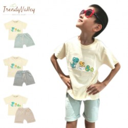 Trendyvalley 3M-3Y Gelvano Organic Cotton Outing Wear Short Sleeve Short Pants Dino Jiji and Baby (Grey)