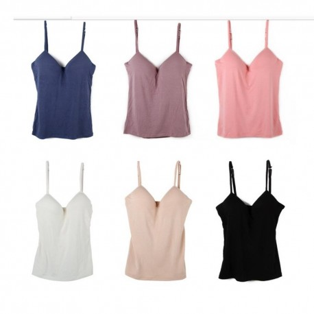 Trendyvalley Seamless Padded Camisole Adjustable Strap Tank Top (Free Size)