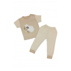 TRENDYVALLEY Organic Cotton Short Sleeve Baby Shirt and Long Pants (Sheep)