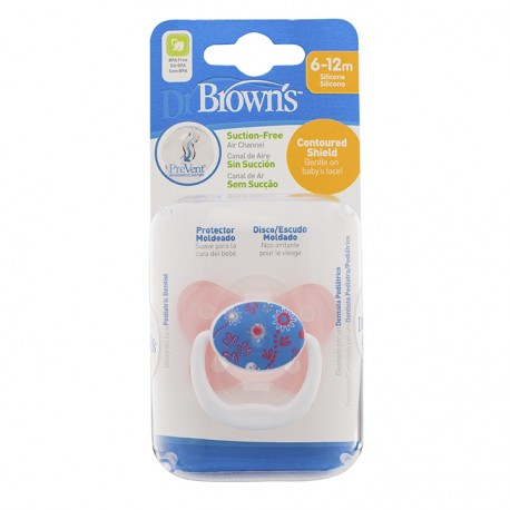Dr Brown's Prevent Butterfly Shield Pacifier - Stage 2 (6-12M) Pink, 1 Pack