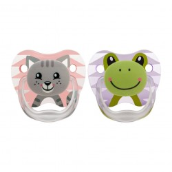 Dr Brown's Prevent Printed Shield Pacifier - Stage 1 (0-6M) Girl Animal Faces (Pink) - 2 Pack