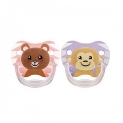 Dr Brown's PreVent PRINTED SHIELD Pacifier - Stage 2 (6 - 12M) Girl Animal Faces (Pink), 2 Pack