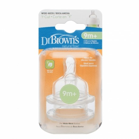 """Dr Brown's Options : Y-Cut Silicone Wide-Neck """"Options"""" Nipple (9+Months)"""