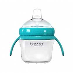 Baby Brezza BPA Free 5oz Transition Sippy Cup with Handles for Infant and Toddlers (Blue)
