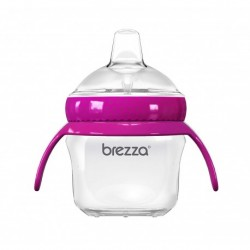 Baby Brezza BPA Free 5oz Transition Sippy Cup with Handles for Infant and Toddlers (Pink)