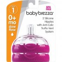Baby Brezza Stage 1 Replacement Baby Bottle Nipples with Anti-Colic Truflo Vent System (2 Packs)