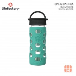 Lifefactory 12oz Glass Water Bottle with Silicone Sleeve (Kale)