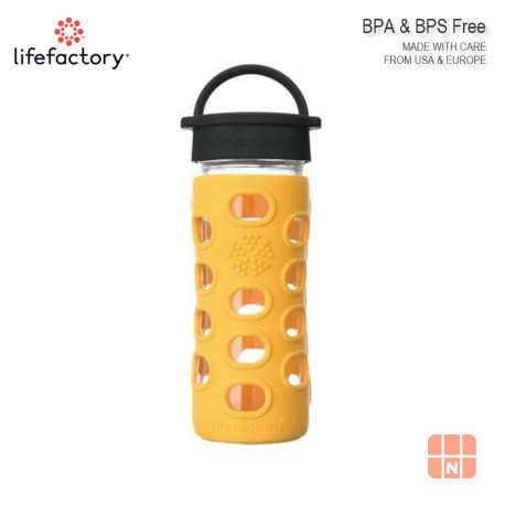 Lifefactory 12oz Glass Water Bottle with Silicone Sleeve (Marigold)
