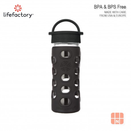 Lifefactory 12oz Glass Water Bottle with Silicone Sleeve (Onyx Black)
