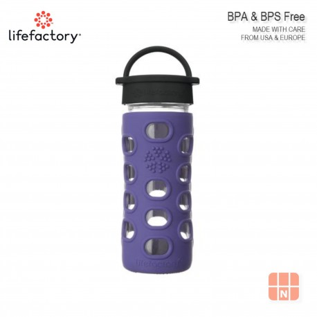 Lifefactory 12oz Glass Water Bottle with Silicone Sleeve (Iris)
