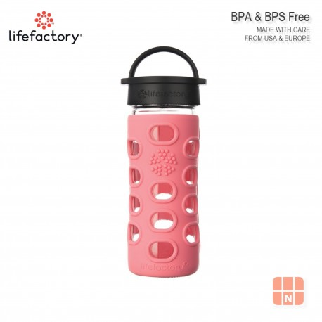 Lifefactory 12oz Glass Water Bottle with Silicone Sleeve (Coral)