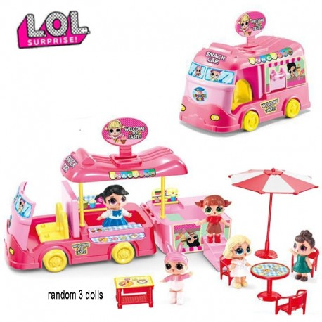 L.O.L SURPRISE! Original LOL Surprise Dolls Toy Set Picnic Car Ice Cream Cart Travel Bus Model Toys for Girls Birthday Gifts
