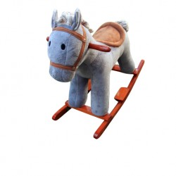 Woodalion Grey Puffy Horse Infant Rocker