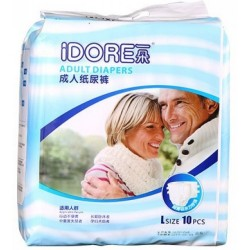 IDORE Premium Wood Pulp Adult Diapers M / L (10 Pcs)