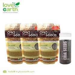 Love Earth Organic Chia Seed Value Pack (168g x3 + FOC 1 Pocket Chia 280g)