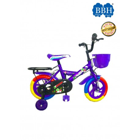 BBH Child Bicycle Kids Bike 12Inches with Basket and Seat - Purple (Complete Installation)