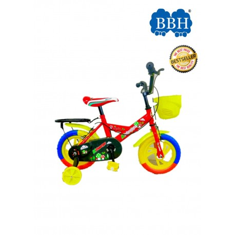 BBH Child Bicycle Kids Bike 12Inches with Basket and Seat - Red (Complete Installation)
