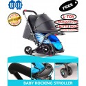 BBH Rocking Stroller with Free 3 Accessories and 1 Year Warranty (Blue)