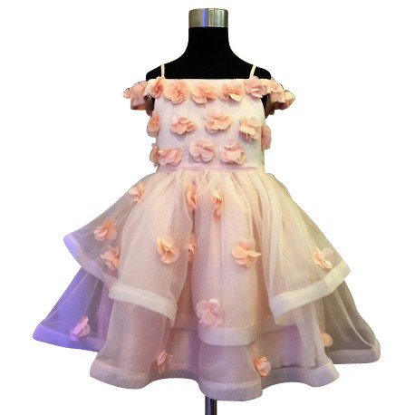 Wonder Tots - Party Dress 4-12y (Peach/Floral)