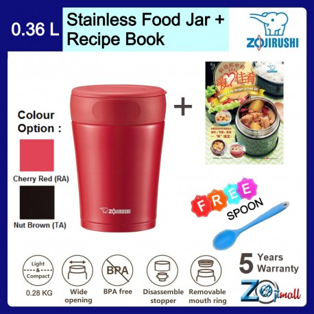 Zojirushi 360ml S/S Food Jar - SW-GCE-36 + Recipe Book + Spoon (Bundle Package)