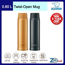 Zojirushi 600ml S/S Twist-Open Mug SM-NA-60