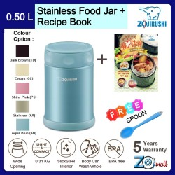 Zojirushi 500ml S/S Food Jar - SW-EAE-50 + Recipe Book + Spoon (BUNDLE PACKAGE)