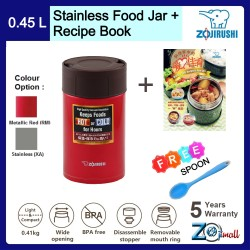 ZojirushiI 450ml S/S Food Jar - SW-HAE-45 + Recipe Book + Spoon (BUNDLE PACKAGE)
